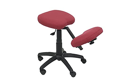PIQUERAS Y CRESPO Model 37G - Ergonomic office swivel stool and height adjustable - Seat upholstered in fabric BALI maroon color (ADJUSTABLE KNEE PAD)