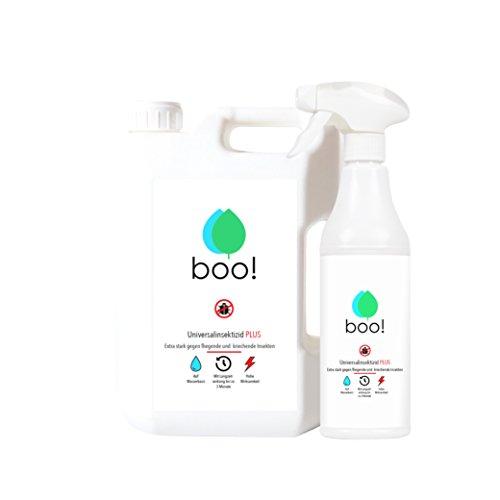 boo! Plus - Extra Starkes Insektenspray | Insektenschutz ALS Spray gegen Mücken, Milben, Bettwanzen etc | Insektizid auf Wasserbasis | Langzeitwirkung von bis zu 3 Monaten | 2,5 Liter