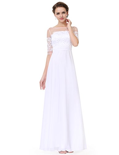 Ever Pretty Robe de soir¨¦e longue en demi-manches et le col en lace translucide 08459 Blanc