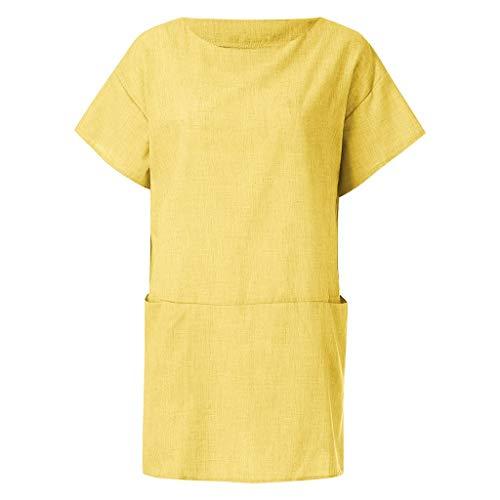 LOPILY Damen Sommer Kleider Sommerkleider Einfarbig Einfach Bequem Freizeit Minikleid mit Taschen Lose Tunika Kurzarm T-Shirt Kleid Pocket Hemdkleid ()