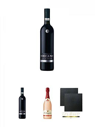 Scavi & Ray Il Rosso Alkoholfrei 0,75 Liter + Scavi & Ray Il Rosso Alkoholfrei 0,75 Liter + Rotkäppchen Sekt Rose alkoholfrei 0,75 Liter + Schiefer Glasuntersetzer eckig ca. 9,5 cm Ø 2 Stück