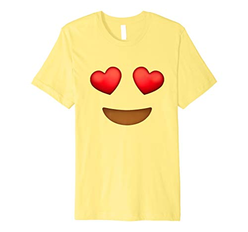 Herz Augen Emoji-Face Kostüm T-Shirt für Halloween (Emoji Herz Mit Augen)