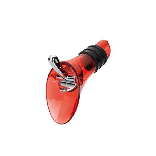 Westmark Dekantier-Ausgießer für Flaschen, Mit Verschlussklappe, Kunststoff/Rostfreier Edelstahl/Silikon, Rot-transparent/Silber, 44202280 (Kunststoff-klappe)