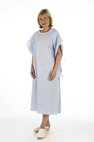 Unisex PATIENT GOWN (Blue) - Wrap Around Style - Hospital Supplied