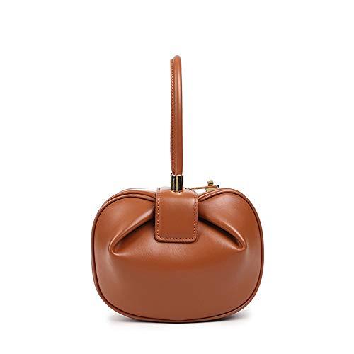 Kieuyhqk Damen Vintage Lederhandtaschen Tragbare Volltonfarbe Top-Griff-Einkaufstasche Damen Casual Handtasche Schulter-Handtasche (Farbe : Braun, Größe : M)