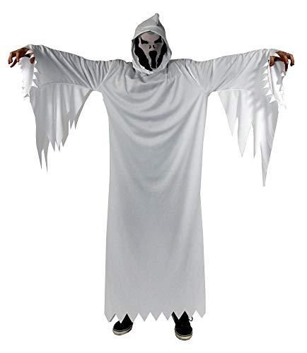 Foxxeo Weißes Geister Kostüm für Jungen weißer Geist Halloween Fasching Karneval Gespenst Kinder-Größe 146-152