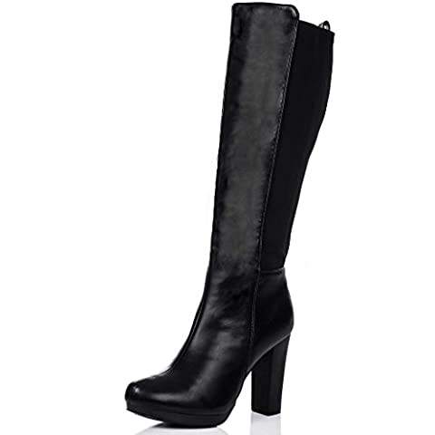 Block Heel Stretch Knee High Boots Black Synthetic Leather UK 8