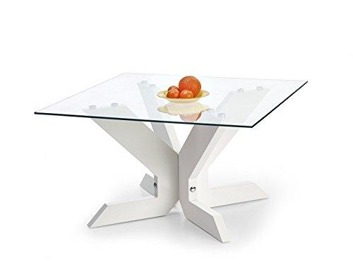 TABLE BASSE PLATEAU VERRE TREMPE - BLANC