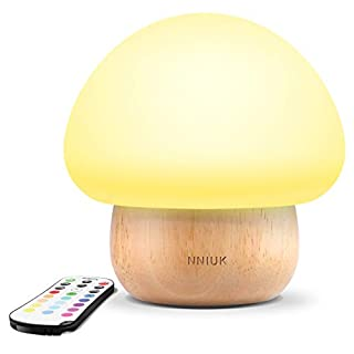 Night Lights for Kids, NNIUK Baby LED Mushroom Night Lamp, Soft Silicone Lampshape, 100% Rubber Wood, 4 Light Modes and 16 Color by Wireless Remote - UK Plug