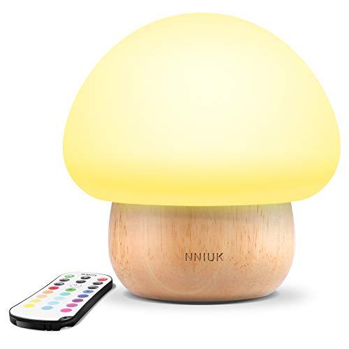 NNIUK Night Light LED champú lámpara de silicona con mando a distancia inalámbrico 16 diferentes colores para el dormitorio del niño - enchufe de la UE [Clase de eficiencia energética A]