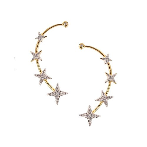 Zeneme Gold Plated American Diamond Ear Cuff Earring Jewellery For Women / Girls