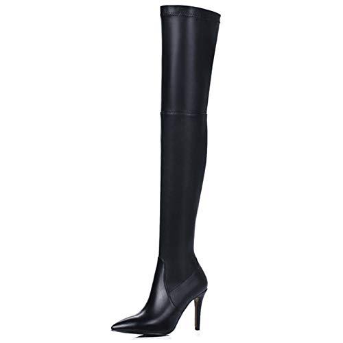 Pu Oberschenkel Hohe Stretch-reißverschluss (Damen High Heel Leder PU Reißverschluss Sexy Oberschenkel Hoch Damen Hohe Stiefel,Black-EU:35=5.5B(M) US)