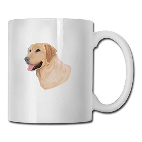 Daawqee Becher Coffee Mug Labrador Retriever Mug Funny Ceramic Cup for Coffee and Tea with Handle, White -