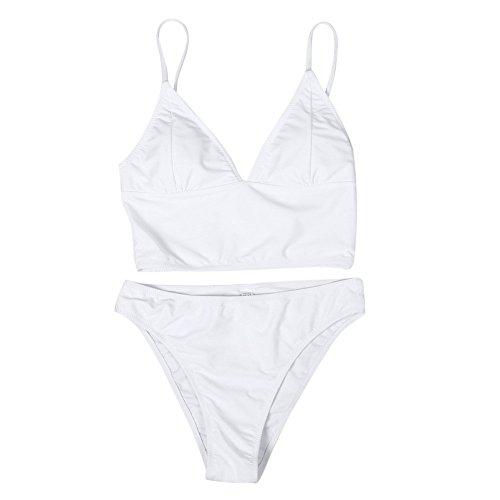 PinkLu Badeanzug Dame Einfarbiger Split-Bikini Mode SchöN GüNstig HeißEr FrüHling Urlaub Am Meer Sommer HeißEr Dreieck Beachwear Badeanzug