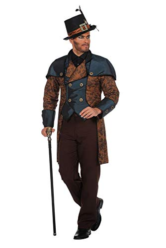 Viktorianische Kostüm Männer - shoperama Steampunk Herren Anzug Braun/Blau Gehrock Hose Kostüm viktorianisch hochwertig Mantel Jacke viktorianisch Industrial, Größe:52