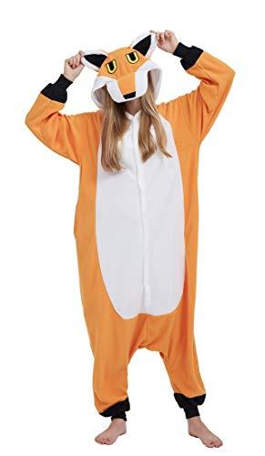 Pyjama Cosplay Tier Onesie Body Nachtwäsche Kleid Overall Animal Sleepwear Erwachsene Fox XL ()