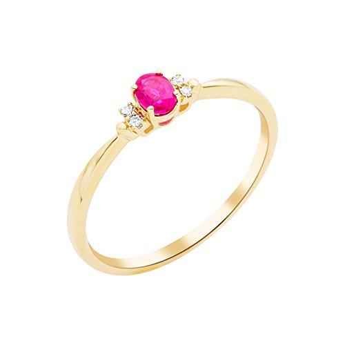 Miore Damen-Ring 375 (9kt) Gelbgold mit Rubin und Diamanten