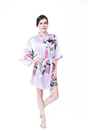 Kurzen Satin-kimono-robe (KEYNIS Damen Morgenmantel Satin Kimono Robe Bademantel Nachtwäsche mit Pfau und Blumen Kurze(XXL Helllila))