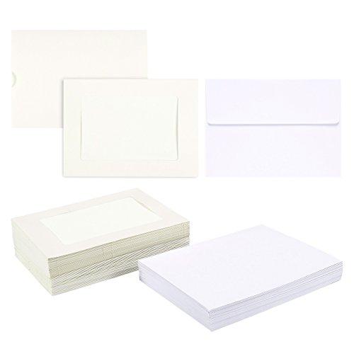 Foto-Einsteckkarten - Papier-Bilderrahmen Karten und Umschläge - elegante Foto-Matte, perfekt zum Einlegen und Versenden von unvergesslichen Dokumenten, für Einlagen von 10 x 15 cm 50-Pack weiß -