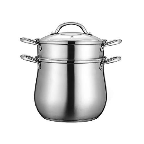 2 Tier Steamer induction en acier inoxydable Set, Steamer Pan/Stock Pot, poli miroir avec couvercle en verre trempé Lave-vaisselle Four Coffre (Size : 26 * 35cm)