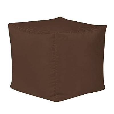 Bean Bag Bazaar 38cm x 38cm, Cube Bean Bag Stool - Indoor and Outdoor Use - Water Resistant, Weather Proof Bean Bags (2, Brown)