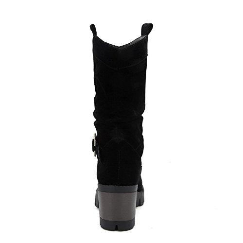 AgooLar Femme à Talon Correct Couleur Unie Rond Tire Bottes avec Métal Noir