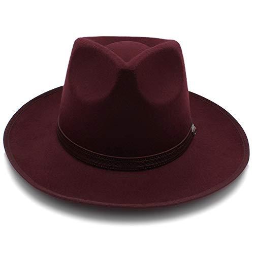 Sandy Cowper Wolle Jazz Hats Large Brim Filz Cloche Cowboy Panama Fedora Hut für Frauen Hut mit Gürtel Papa Hut (Farbe : Weinrot, Größe : 56-58CM) Brim Fedora-hut