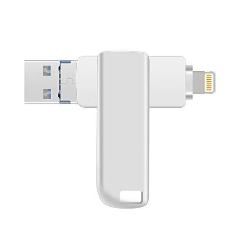 USB 3.0 Flash Drives für iPhone 3 in 1 OTG Jump Drive Externer Micro USB Speicher Pen Drive für iPad, iOS, Android, PC Silber 256 GB (Externen Speicher-laufwerk Für Ipad)