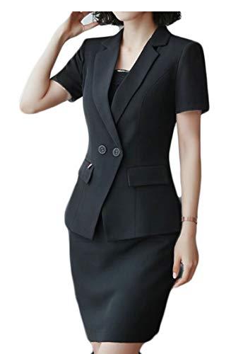 chenshijiu Womens V-Neck Short Sleeve Blazer & Skirt 2-Piece Suit Set