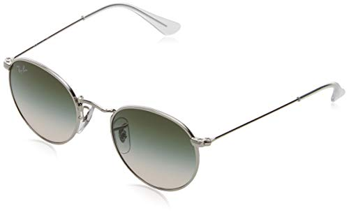 RAYBAN JUNIOR Unisex-Kinder Sonnenbrille Round Metal Junior, Silver/Light Brown Gradient Green, 44