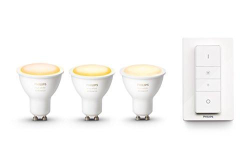 Philips Hue White Ambiance Set 3 Faretti Spot LED, Lampadina Dimmerabile, Attacco GU10, Controllabile via App + Hue Telecomando Dimmer Switch