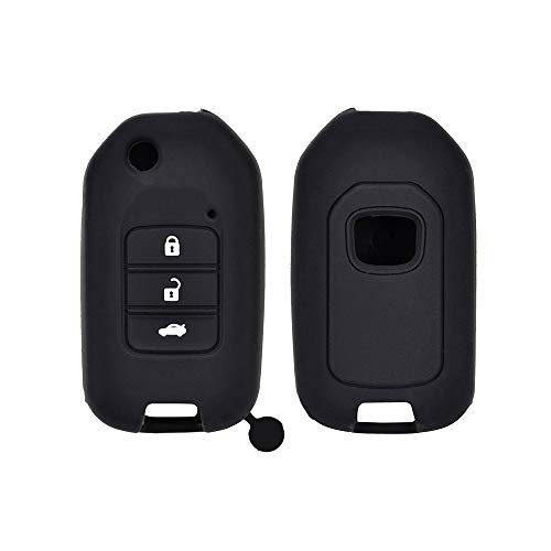 DYGDHAA Funda Protectora de Bolsillo con Llavero de Silicona de 3 Botones, para Honda Civic CR-V HR-V Acuerdo Jade Crider Odyssey 2015-2018 Protector Remoto