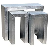DOWNTON INTERIORS Set of 3 Modern Metallic Silver Moc Crocodile Embossed Nest of Tables (TR1-9358) ** Full Range of Matching MOC CROC Furniture is Available**