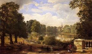 GFM Painting - Riproduzione fatta a mano di Pittura ad Olio. Soggetto:The Serptentine Hyde Park London 1858,Pittura ad Olio di Jasper Francis Cropsey - 72 By 96 pollici