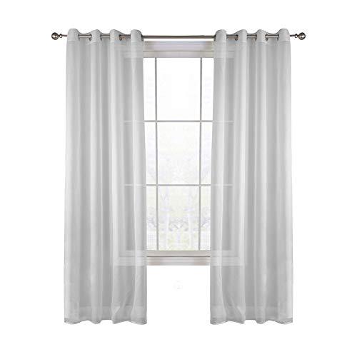 Set di 2 pezzi semplice schermo a colori solido trattamenti per finestre tende a occhiello top anello per camera da letto camera da letto tende trasparenti 140x160cm 55x63inch