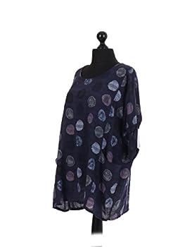 New Italian Ladies Women Lagenlook Polka Dots Cotton Tunic Top Plus Size 16-24 (Navy) 2