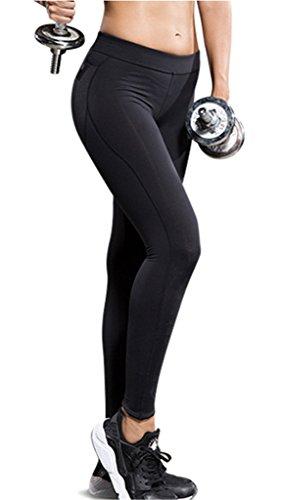 newzcers donne Sport Tempo libero asciuga Workout Fitness-ghette Joga da corsa Collant, nero, L