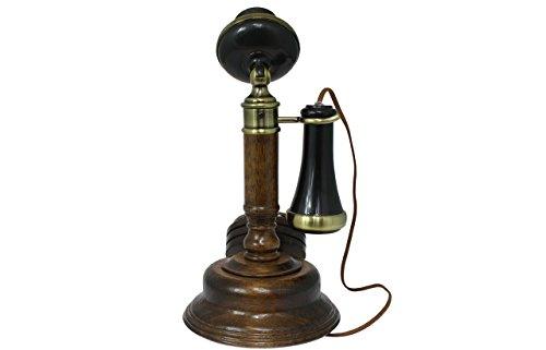 Opis 1921 cable - Modell C - Retro Telefon aus Holz, schwarzem und mit Messing überzogenem Plastik - mit echter, rotierender Wählscheibe und Metallklingel - 3