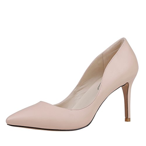 EKS Damen Pointed-toe Stilettos Heels Dress Pumps Nackt-Matt