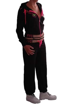 EyeCatch - New York Damen Trainingsanzug Jogginganzug mit Kapuze schwarz X-Large