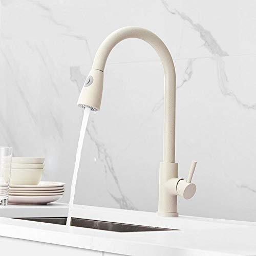Ziehen Sie Messing Küchenarmatur frei, um Wasserhahn für Küchenmischer Mischbatterie Khaki Einhebel-Spültischbatterie zu drehen -