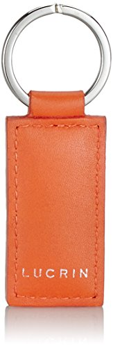 Lucrin Porte Clés Rectangulaire Simple Cuir Vachette Lisse 8 cm Orange PM1085_VCLS_ORG
