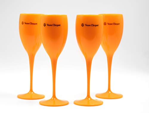 Veuve Clicquot Acryl Flutes Cup Ice Champager Imperial 4 STÜCK (Orange)