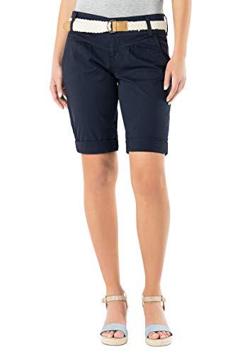 Twill-bermuda (Fresh Made Damen Bermuda-Shorts in Pastellfarben mit Flecht-Gürtel | Elegante Kurze Hose im Chino-Style Dark-Blue L)