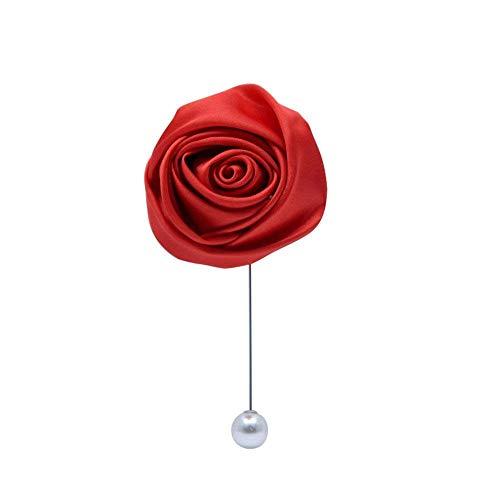 Fouriding Herren Ansteckblume Revers Pin Handgefertigt Rose Brosche Blume Knopfloch Boutonniere für Männer Bräutigam Hochzeit Anzug Dekor Rot Packung mit 1 Stück