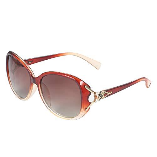 Aroncent Polarisiert Sonnenbrille Große Rahmen für Damen 100% UV400 Schutz Brillen Schwarz Lila Braun Rot