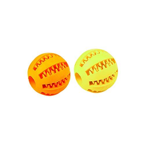 MansWill 2Pack Leckerli Bälle, Pet Puppy Elastic Catch Fetch Spielen Spielzeug für Zahn Reinigung Kauen Training Molar Schleifstifte, Small - 5cm, Orange & Yellow