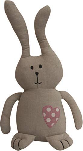 elbmöbel Türstopper Hase Bunny grau rosa Herz Kissen Doorstop + Füllung Deko Sand (Grau) (Rosa Ohren Bunny Hat)