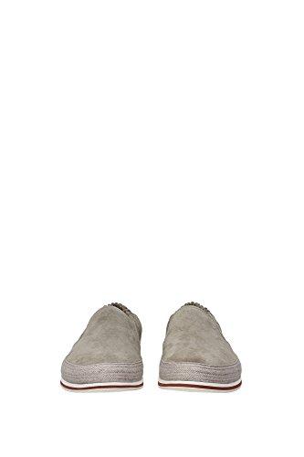 4D2363PIETRA Prada Pantoufle Homme Chamois Gris Gris