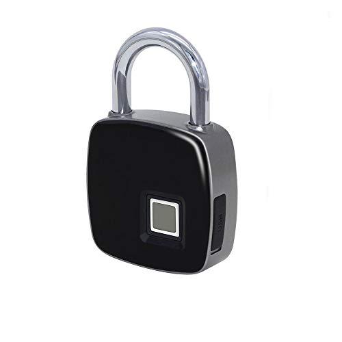 Smart-Fingerabdruck-Schloss, Tragbare Wasserdichte Vorhängeschloss, Outdoor-Sicherheit, Keyless-Lock-Und Gym Büroschrank Box - Schwarz USB-Ladevorgang,1Pack